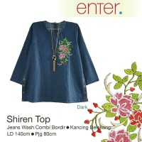 Jual Shiren top/ jumbo blouse jeans bordir Murah