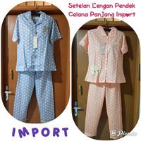Setelan baju tidur import couple Lengan Pendek Celana Panjang