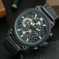 JAM TANGAN JEEP ADVENTURE FOR MEN CHRONO WATERPROOF BLACK LEATHER