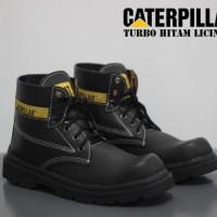 Sepatu Gunung Caterpillar Boots Safety Pria Turbo Warna Hitam Licin
