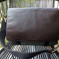 New Fossil Messenger Leather Flap Bag