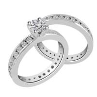 2 Cincin Tunangan Emas 18k Berlian Eropa Asli Putih Pernikahan Sl020