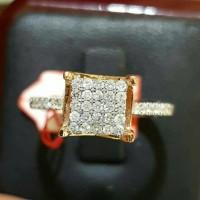 Cincin Tunangan Emas 18k Berlian Eropa Asli Putih Pernikahan Murah Z15