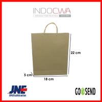Tas Kertas / Paper Bag Polos Tali Rotan UK 18 x 5 x 22