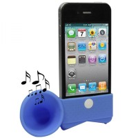 Portable Amplifier Silicone Horn Stand Speaker for iPhone 4/4S-Biru
