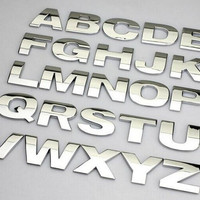 Stiker Mobil Huruf angka tulisan logam METAL Asli MURAH Berkualitas