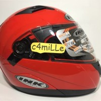(Sale) HELM INK AVENTURE SOLID FIRE RED DOUBLE VISOR MODULAR FULL FACE