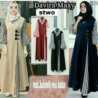 Gamis katun / Dress murah / Baju muslim wanita / Hijab : Davira Maxi