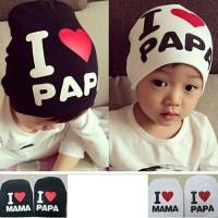 Topi Kupluk Kaos Anak Bayi Cowok Cewek I Love Mama Papa Hitam Putih