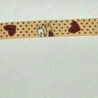 149cm Pita Grossgrain Kelinci Love 17mm Coklat