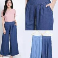 Celana Panjang Kulot Wanita Muslimah Jumbo Bahan Jeans Denim Murmer