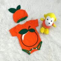 Baju jumper anak bayi laki-laki perempuan buah jeruk set topi lucu