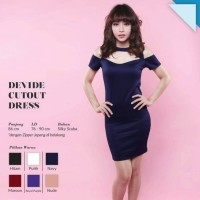 YMJ Devide Cutout Dress Midi Bodycon Gaun Pesta Sexy Seksi QPC