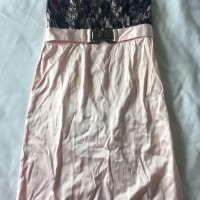 Pink black brokat dress