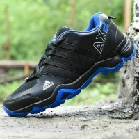 Sepatu Outdoor Adidas AX2 Goretex Hitam Biru - Sport Running Pria