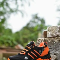 Sepatu Outdoor Adidas AX2 Goretex Hitam Orange / Sport Running Pria