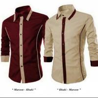 Ready Kemeja Pria Murah Surabaya Roger Maroon Khaki Cotton Stretch
