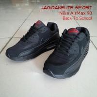 EKSKLUSIF Sepatu Sekolah Nike Air Max 90 Back To School, Hitam Polos.