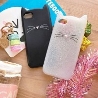 Kate S*pade Cat Black / Glitter Softcase for iPhone 5/S Murah