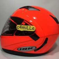 (Sale) HELM INK AVENTURE SOLID RED FLUO DOUBLE VISOR MODULAR FULL FACE