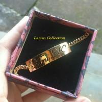 Gelang Nama Plat Lapis Emas Elegan - Perhiasan Nama