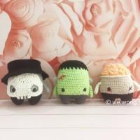 boneka rajut amigurumi monster set 3 in 1 halloween