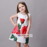 Mitun Dress Gaun Kecil Merah Bunga Putih Anak Import