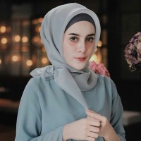 MURAH!! Jilbab kerudung segi empat Organza Polos Grey
