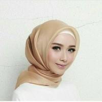 MURAH!! Jilbab kerudung segi empat Organza Polos Brown