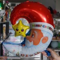 Balon Foil Merry Chrismas Xmas Natal Santa Moon Bulan Bintang Star