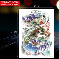 Tato Temporer Gambar ikan Koi & Bunga Lotus / Tatto Temporary - HB-707