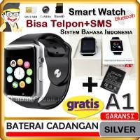 Smartwatch A1 Silver Exclusive Bisa Telpon dan SMS Plus Baterai DZ09