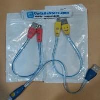 Kabel Data Charger SMILE Lampu 25cm Micro USB Powerbank (GROSIR)