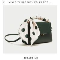 zara mini city bag with polkadot scarf