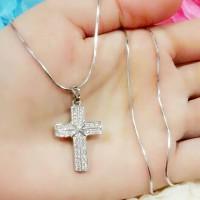 Kalung Salib Silver Emas Putih (motif C) Xuping Perhiasan Lapis Emas