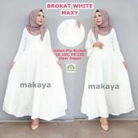 Maxi Dress Muslim Long Dress Wanita BROKAT WHITE MAXI