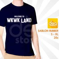 Kaos Welcome To WKWK Land 20s Adem Biru Dongker