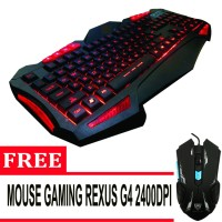 Rexus Keyboard Gaming K7M Extram High Quality - Hitam + Free Mouse