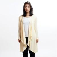 Layered Cardigan Wanita Outer Panjang Hijab Lengan Panjang Kuning Muda