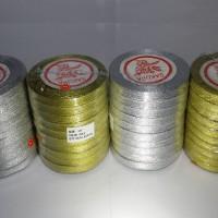 """Pita Emas Perak Glitter 3/8"""" x 20yd Metalik Gold Silver (per 10 roll)"""
