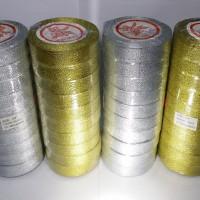 """Pita Emas Perak Glitter 3/4"""" x 20yd Metalik Gold Silver (per 10 roll)"""