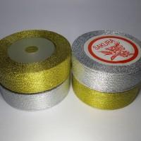 """Pita Emas Perak Glitter 1"""" x 20yd Metalik Gold Silver (per roll)"""