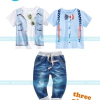 Baju setelan anak GW 202 H GW 3-in-1 Sunglass-tie Blue Set Jeans
