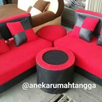 sofa sudut minimalis merah hitam PROMO TERLARIS TERMURAH FREE ONGKIR
