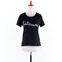 Baju Katun Hitam Casual Motif Tulisan Putih/T-Shirt Comfy/Gaul/GB0906
