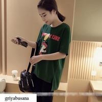 Kaos Lengan Pendek Hijau Fashion Wanita Korea Motif Animasi HitsGB0912