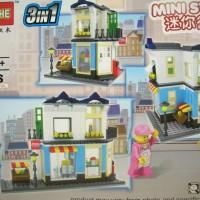 Brick HSANHE 6703 3 in 1 City Street ~ Market Shop ~ Mainan Murah Lego