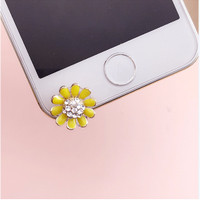 Anti Dust Plug Sun Flower Pluggy Bunga Matahari Kuning Permata