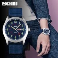 jam tangan pria cowok SKMEI original menyala dalam gelap canvas army