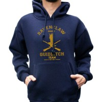 Jaket Zipper Hoodie Sweater Harry Potter Hufflepuff Quidditch - Navy